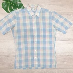 Christian Dior Plaid short sleeve button down Sm